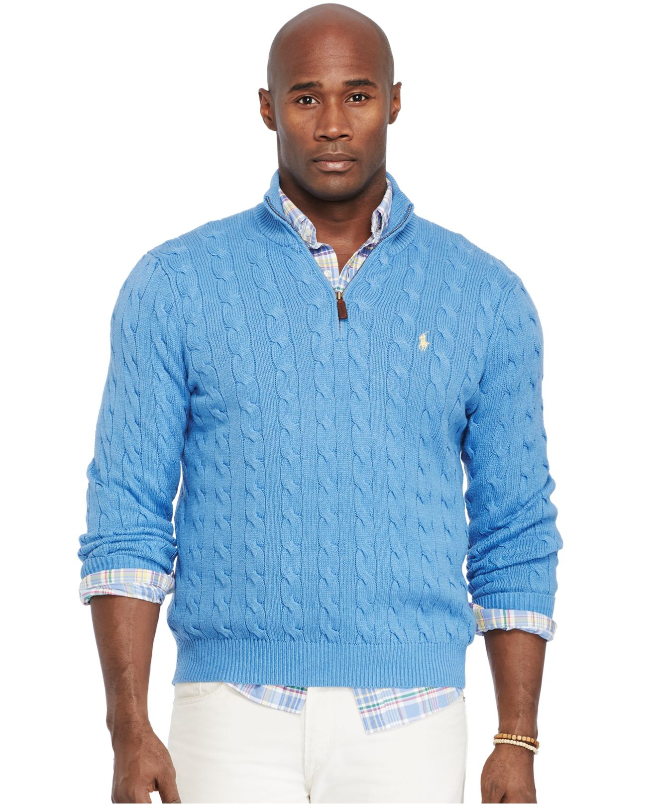 9aaaf032c9757c Polo Ralph Lauren Big And Tall Cable-Knit Tussah Silk Sweater in ...