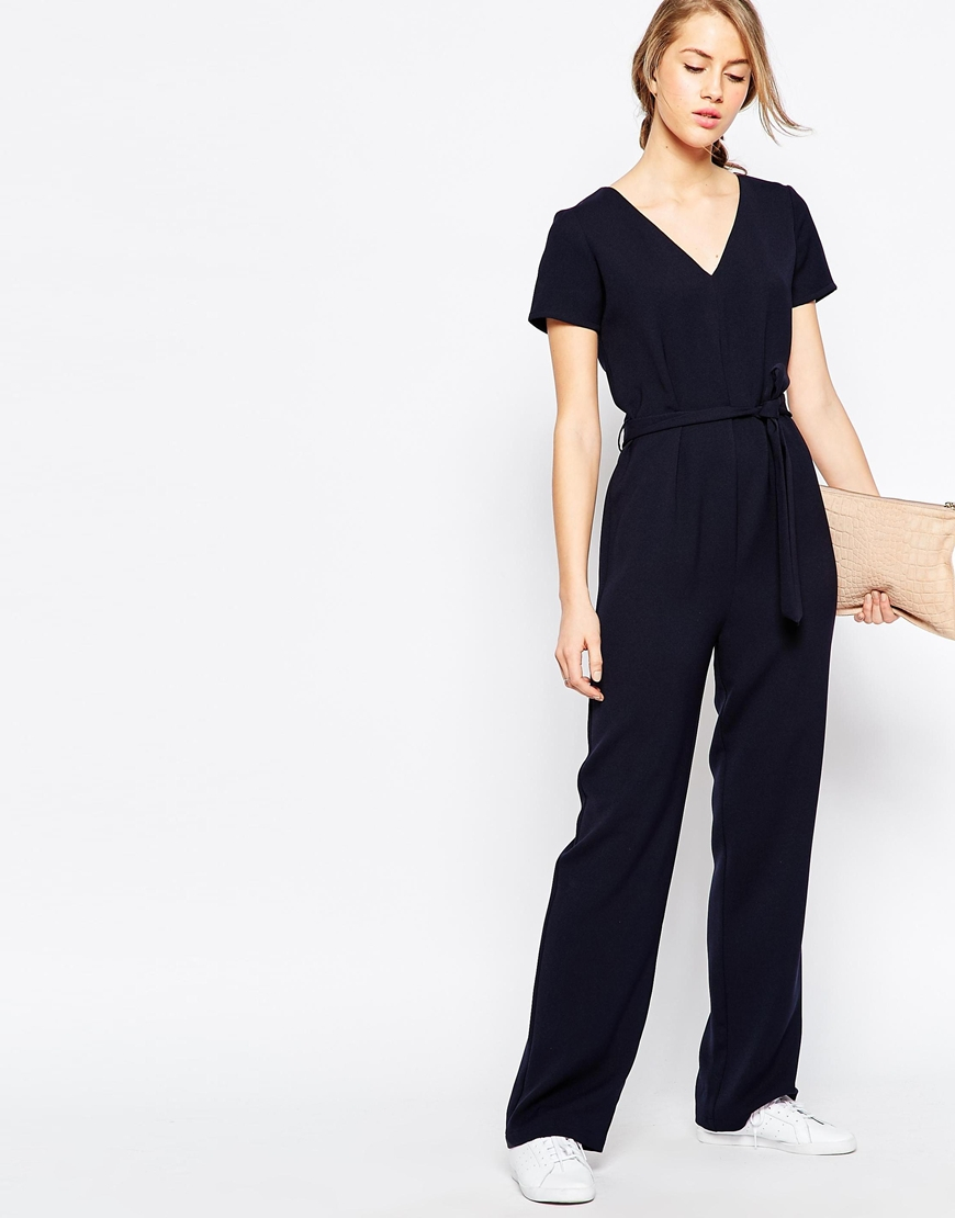 Lyst Asos Jumpsuit With Self Belt And Short Sleeve In Blue
