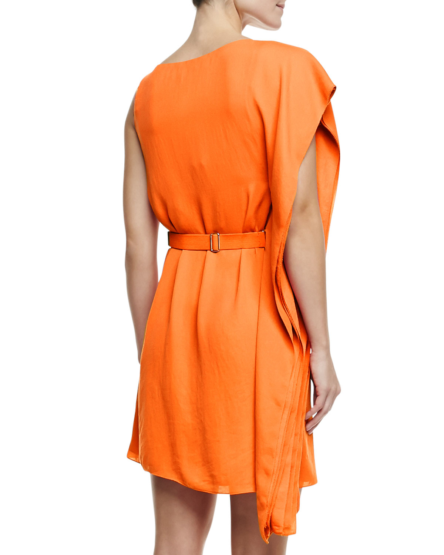 Asymmetric Drape Dress: Halston Asymmetric Drape Sleeve Dress With Belt In Orange