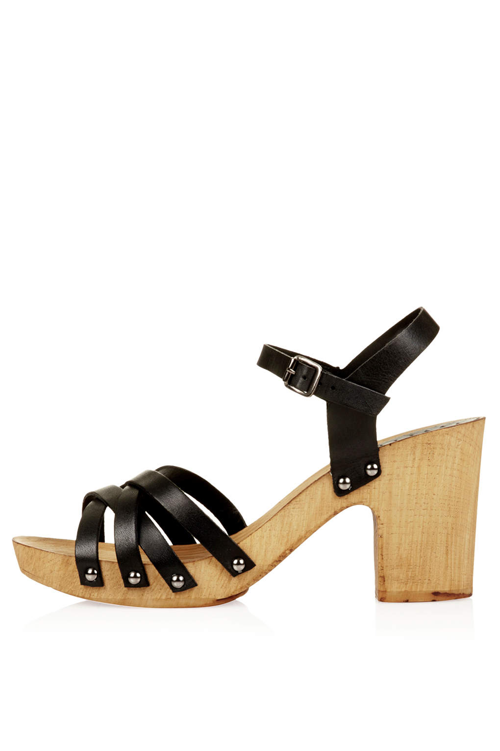f69612a1ba73 Lyst - TOPSHOP Nancy Chunky Wooden Sandals in Black