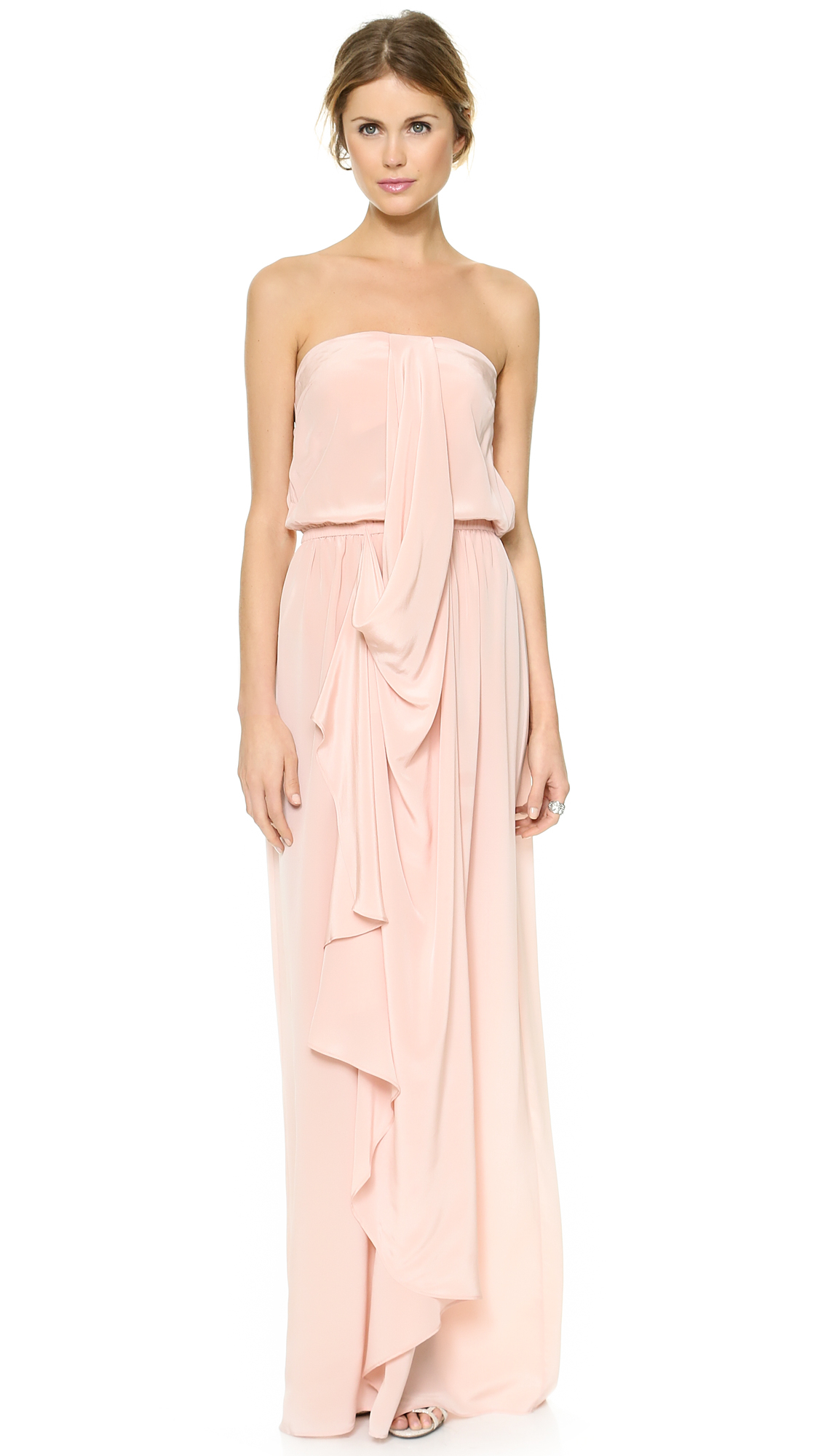 Zimmermann Strapless Draped Maxi Dress in Pink (Rosewater ...