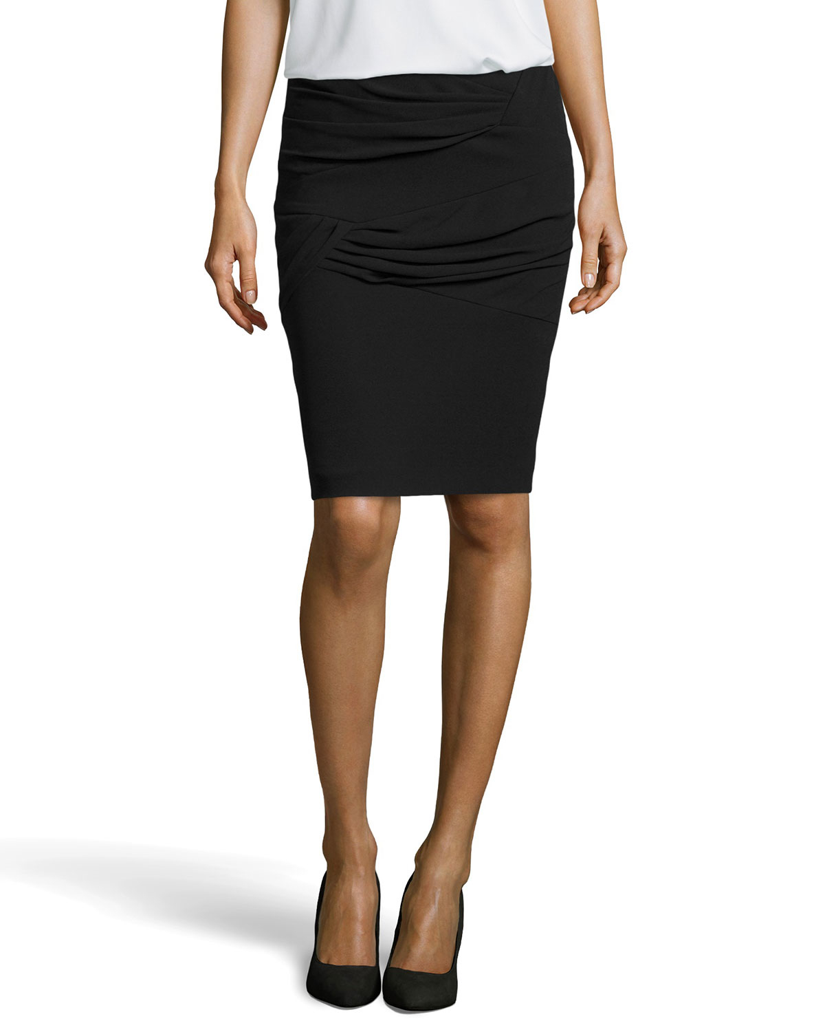 escada ruina pleated knit pencil skirt in black lyst
