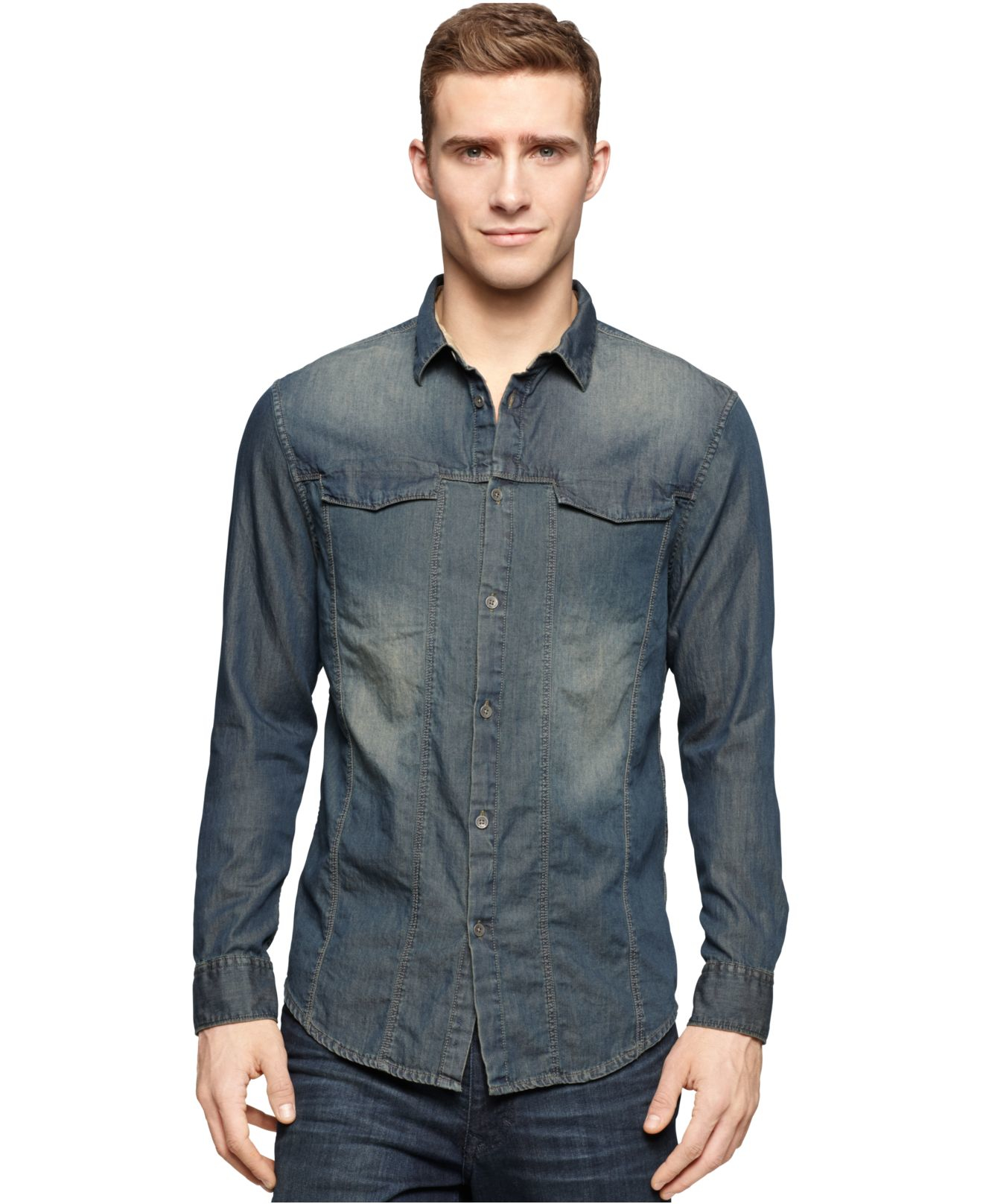 calvin klein jeans direct dye trucker shirt in gray for. Black Bedroom Furniture Sets. Home Design Ideas