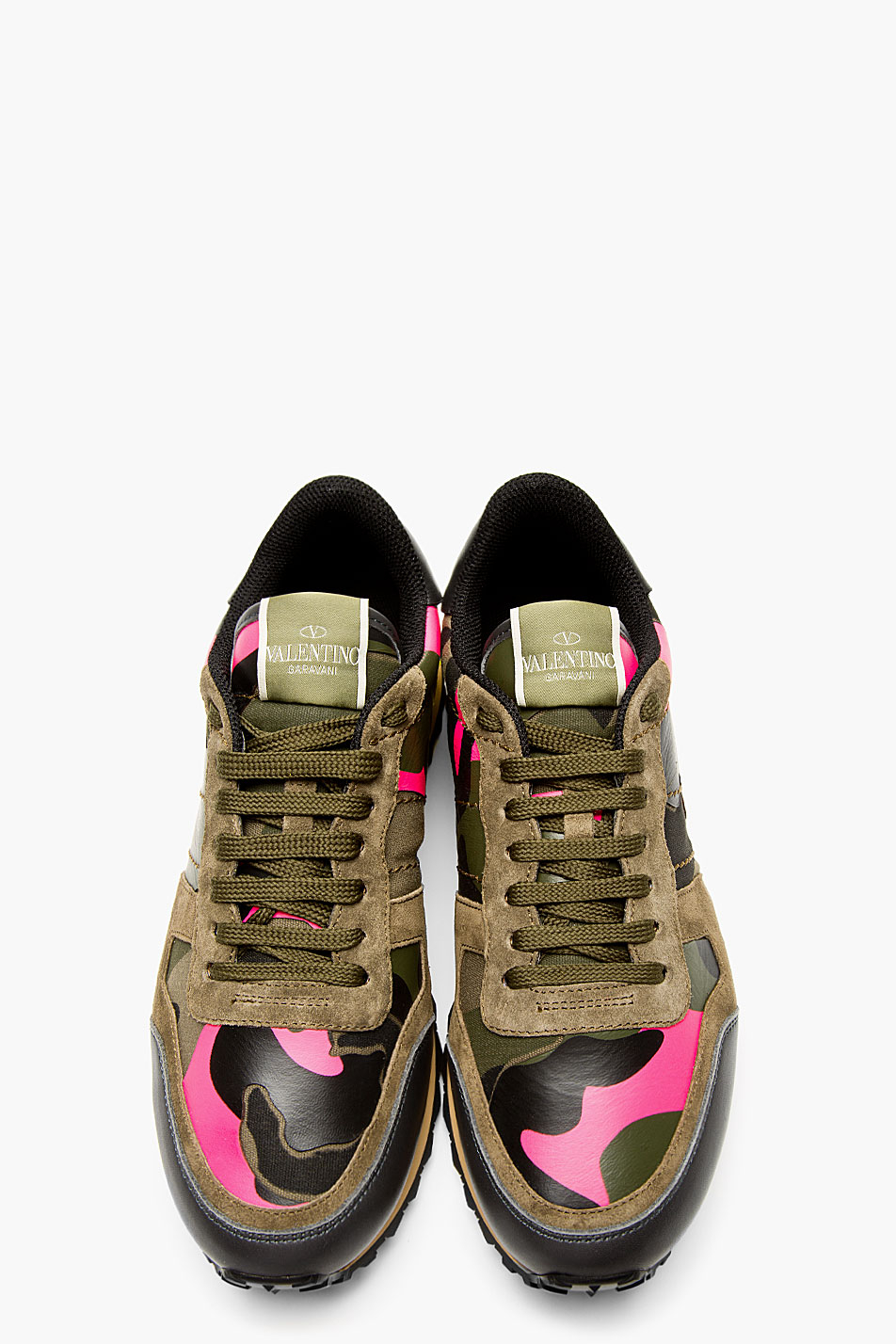 lyst valentino green camo studded running shoes in green