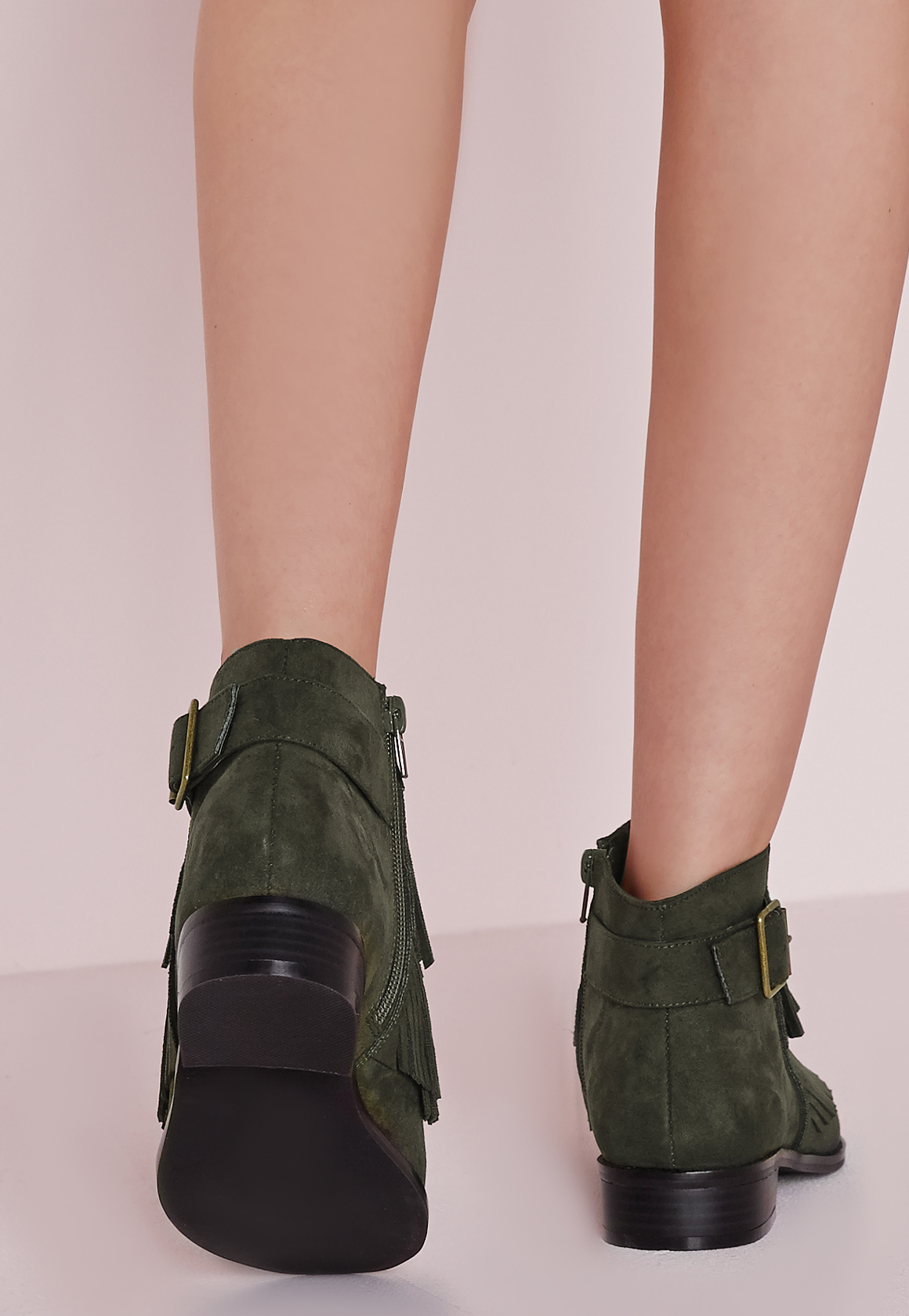 Missguided tassel front ankle boots khaki in green lyst - Missguided head office address ...
