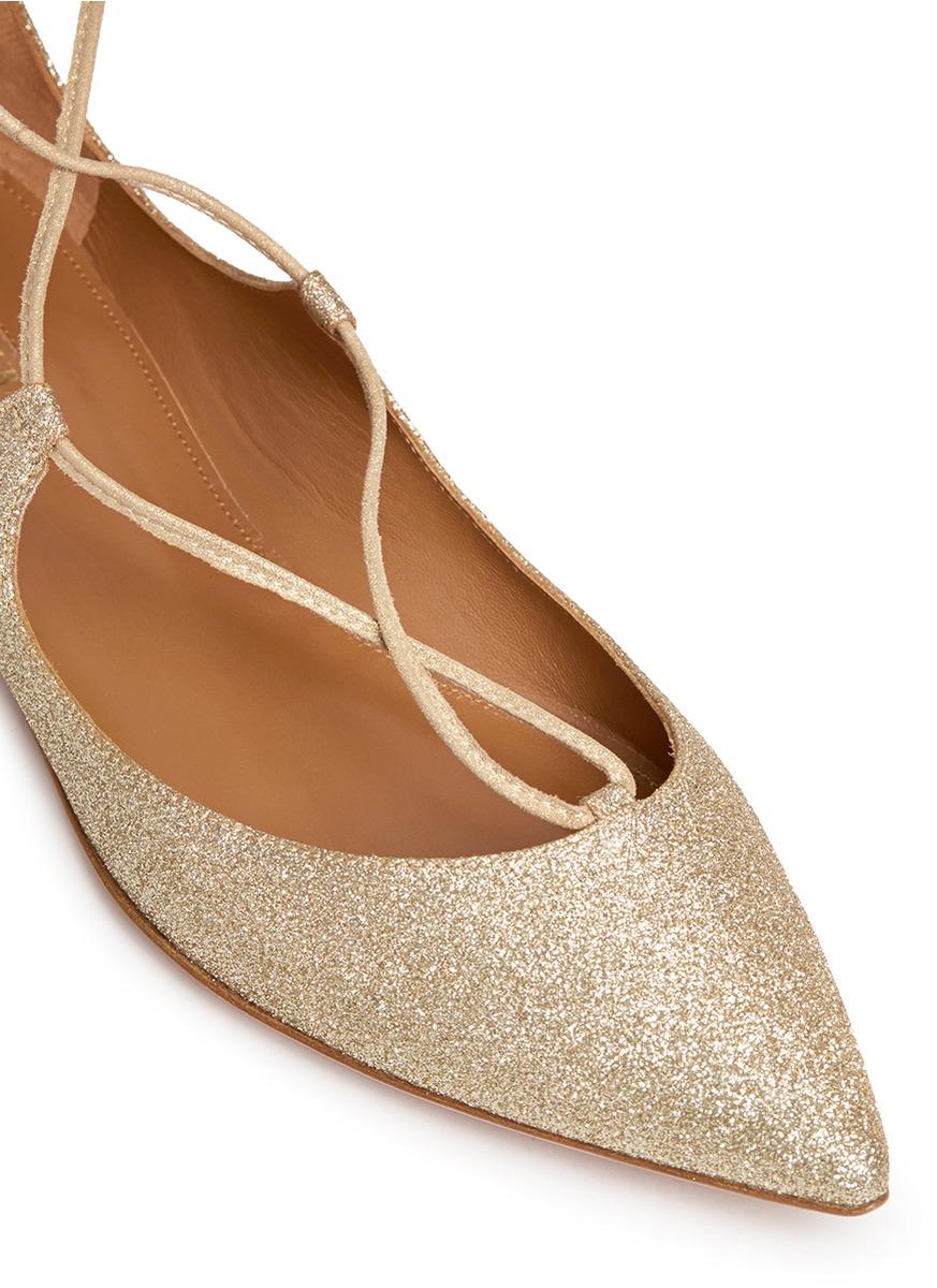 Lyst - Aquazzura 'christy' Lace-up Metallic Glitter Flats ...