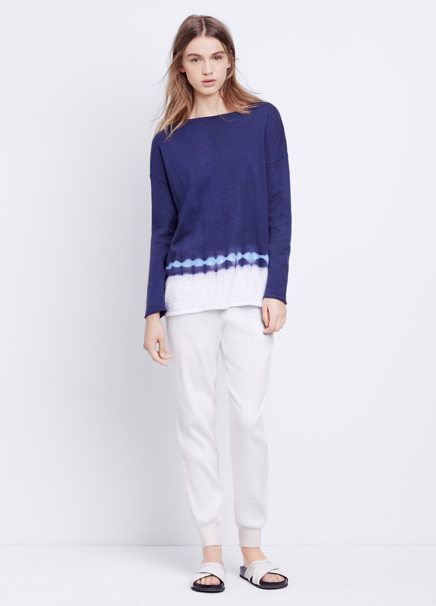 Vince Slub Cotton Tie Dye Long Sleeve Boatneck Sweater in Blue | Lyst