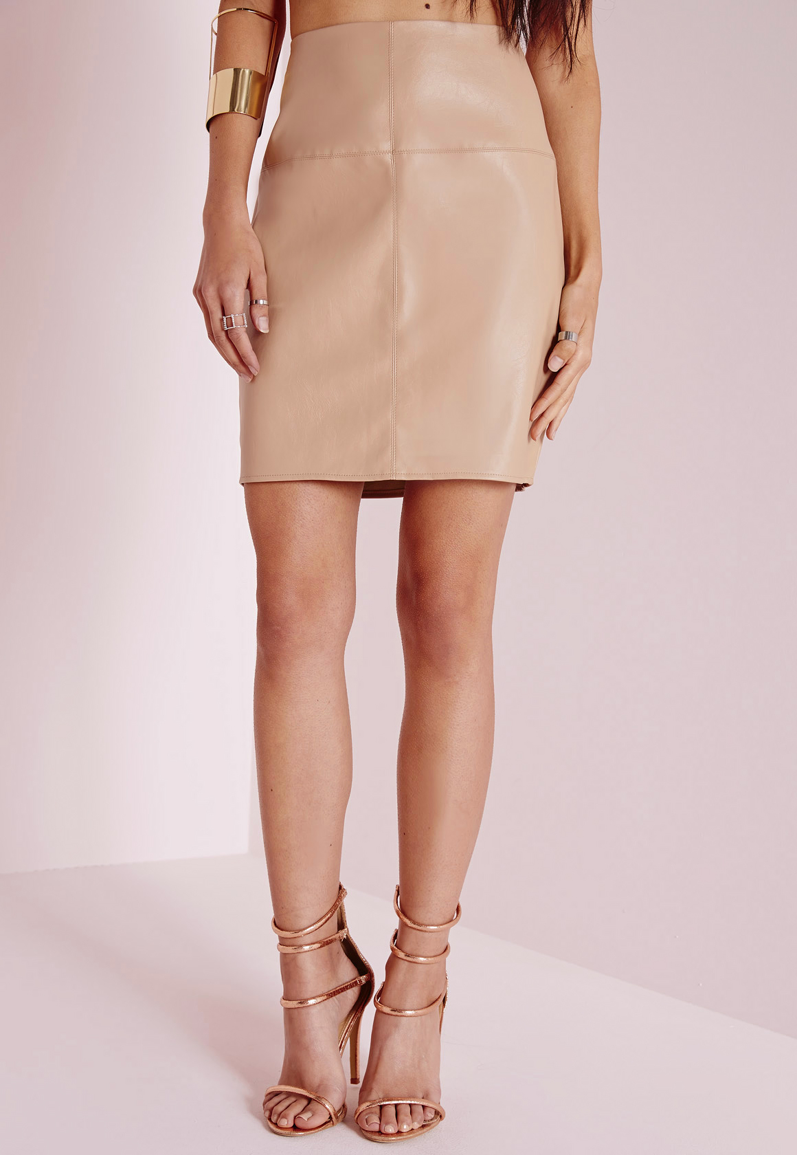 missguided faux leather mini skirt camel in pink lyst