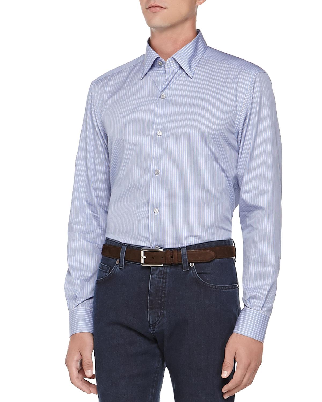 Ermenegildo zegna striped button down shirt in blue for for Striped button down shirts for men