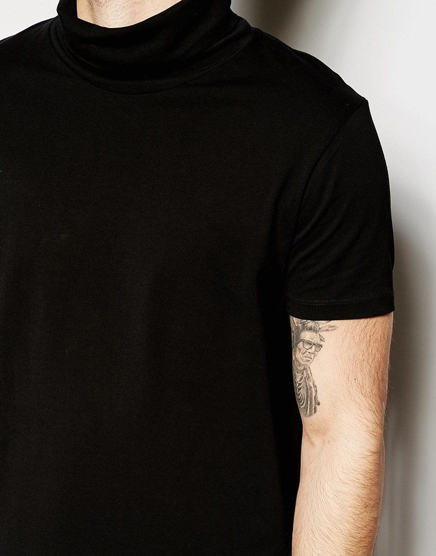 Asos T Shirt With Roll Neck In Black For Men Lyst