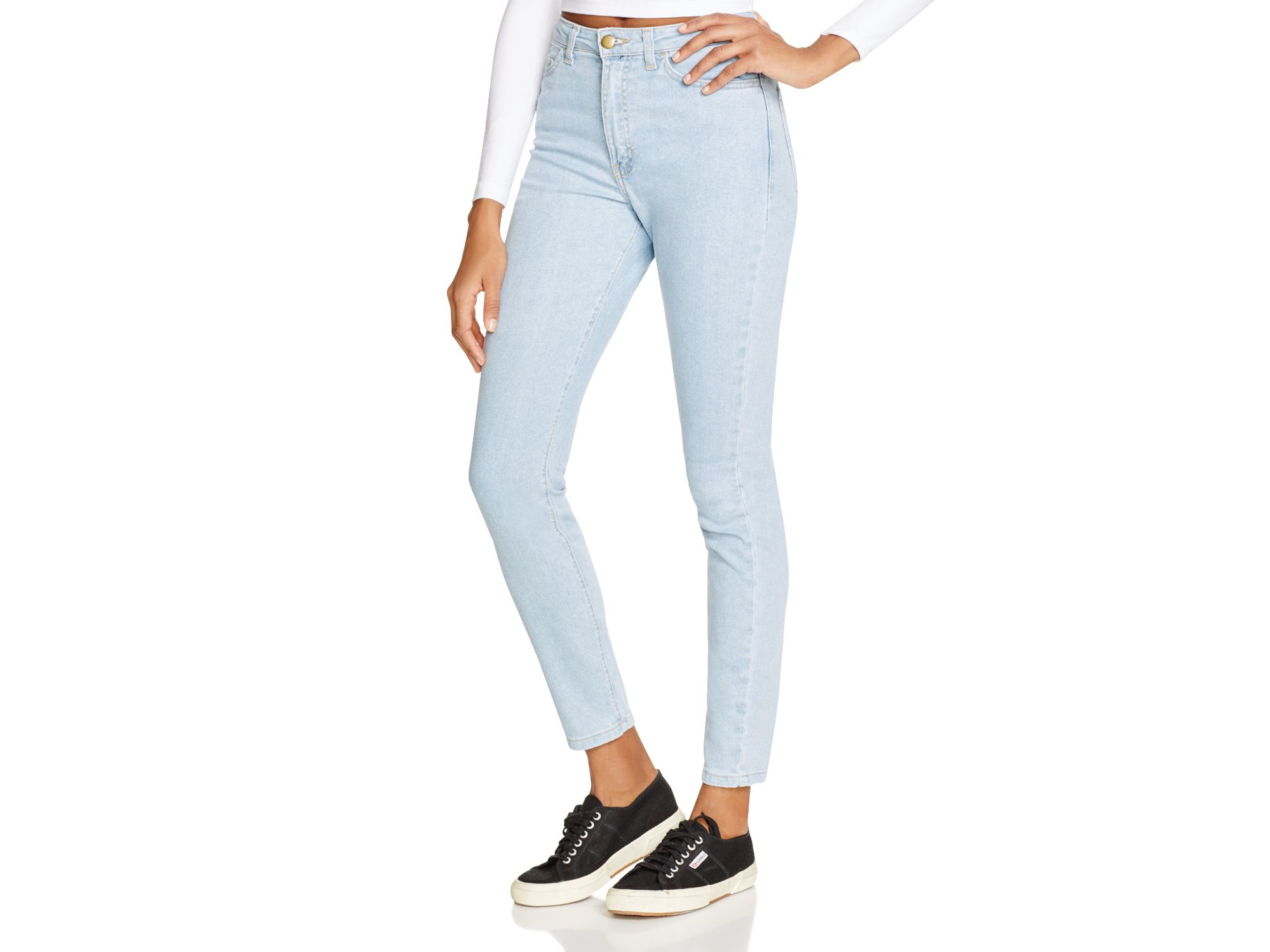 lyst american apparel stretch denim pencil jeans in medium stone washed indigo in blue. Black Bedroom Furniture Sets. Home Design Ideas