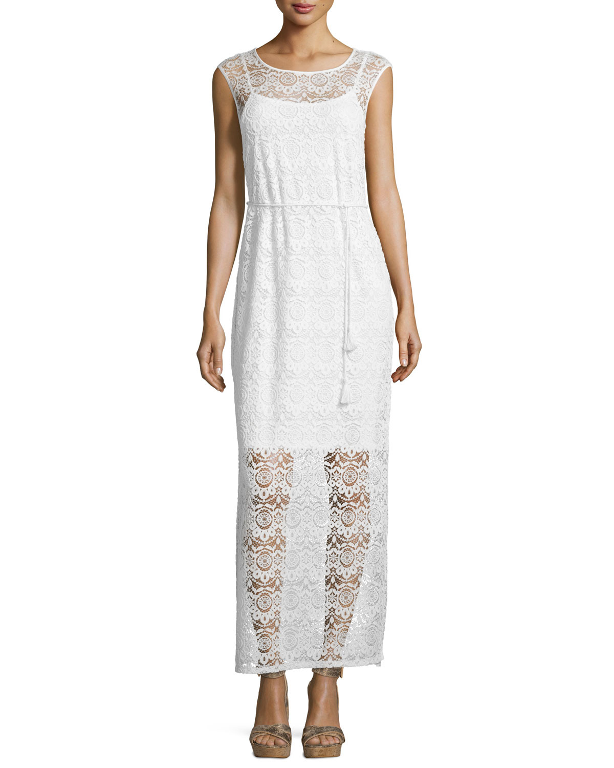 Neiman marcus Floral-lace Sleeveless Maxi Dress in White ...