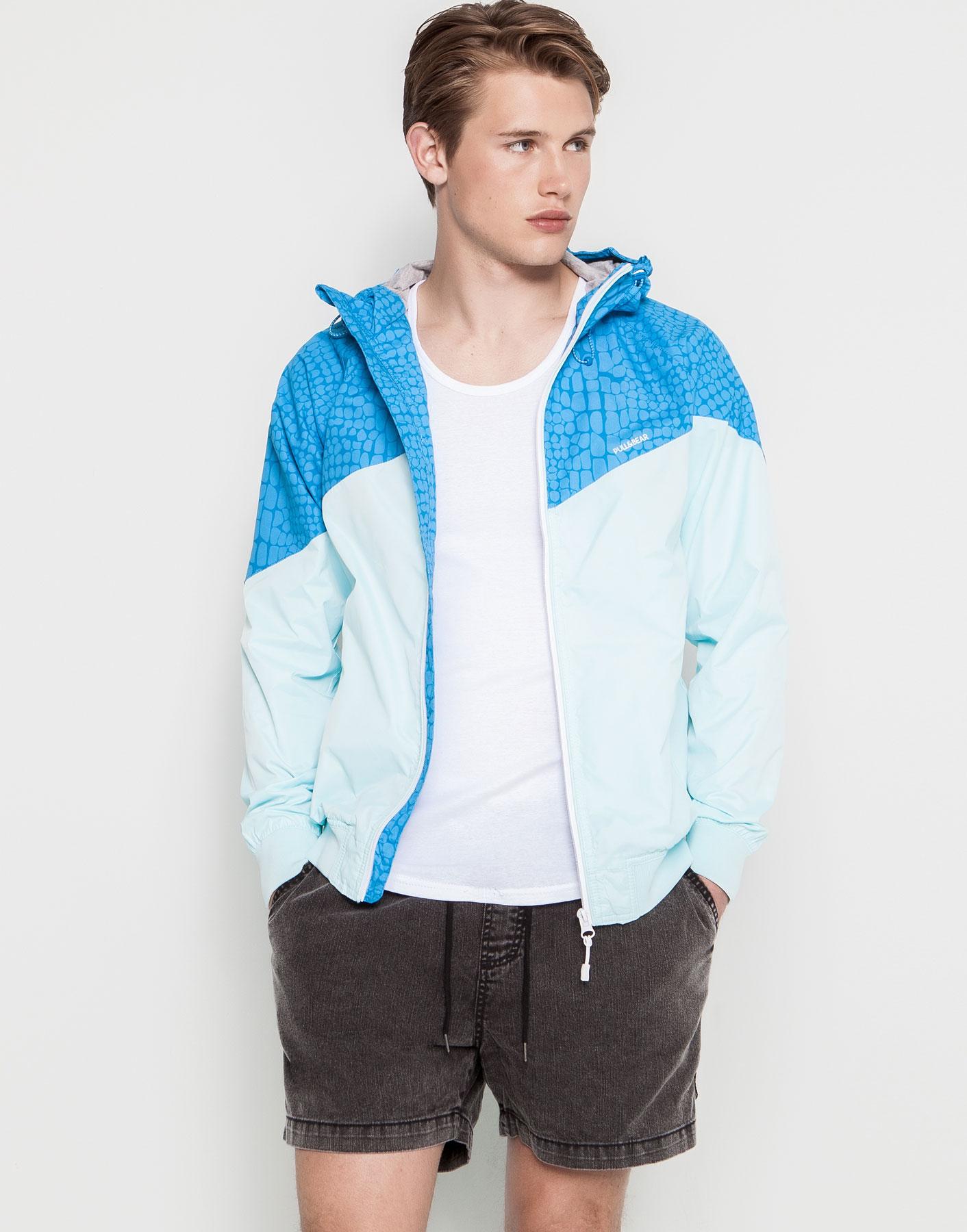 pull bear jacket with hood in blue for men lyst. Black Bedroom Furniture Sets. Home Design Ideas
