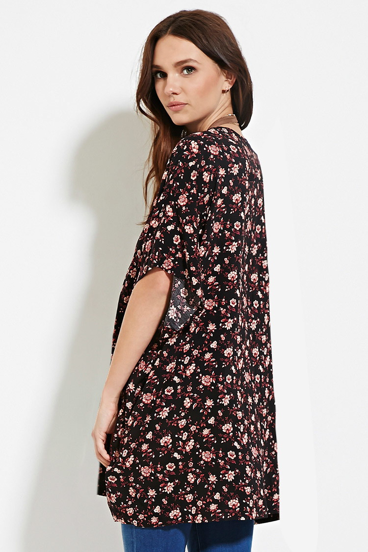 Forever 21 Floral Print Cardigan in Black | Lyst