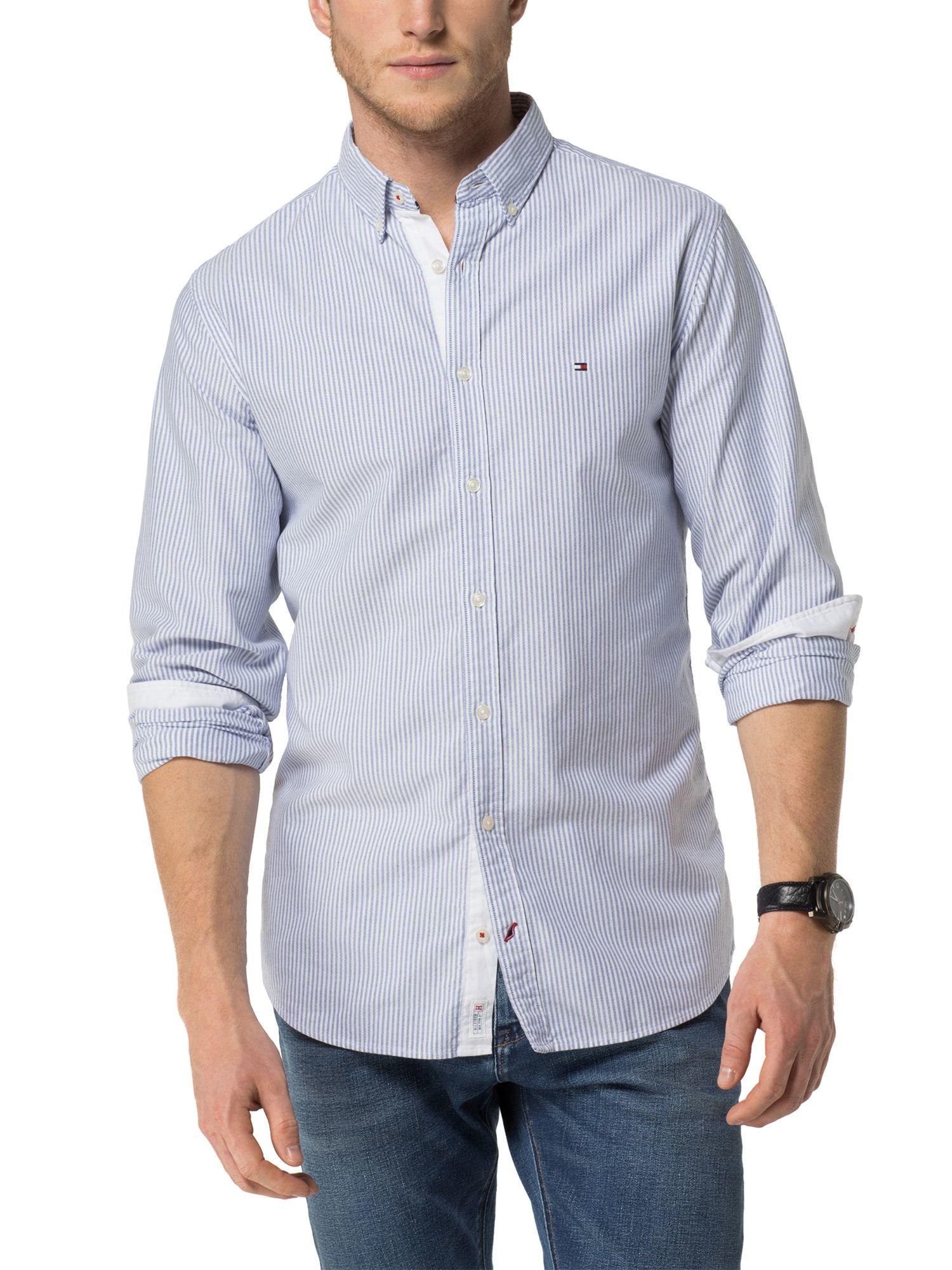 Lyst tommy hilfiger ithaca stripe shirt in blue for men for Tommy hilfiger fitzgerald striped shirt