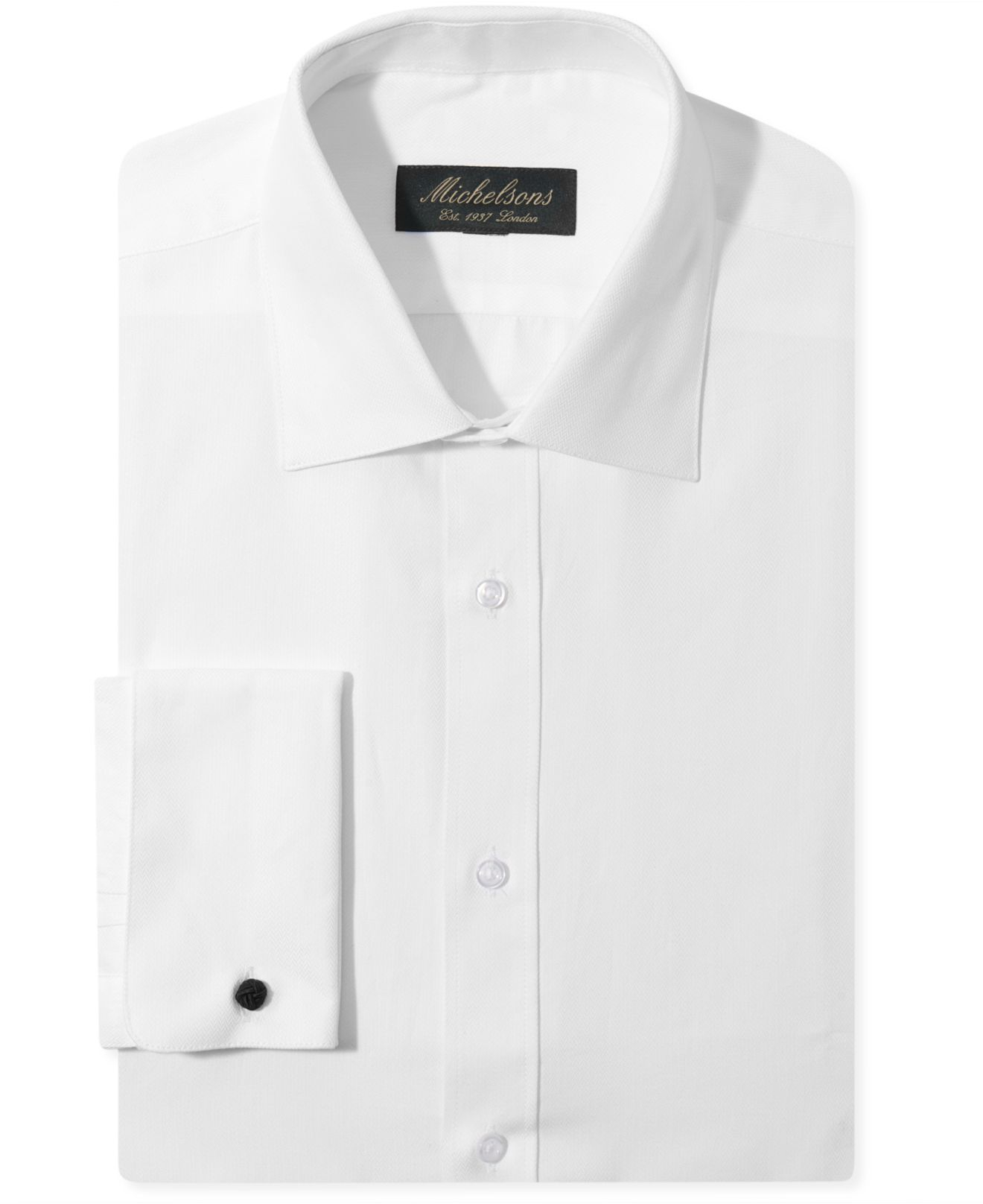 Michelsons of london slim fit chevron texture french cuff White french cuff shirt slim fit