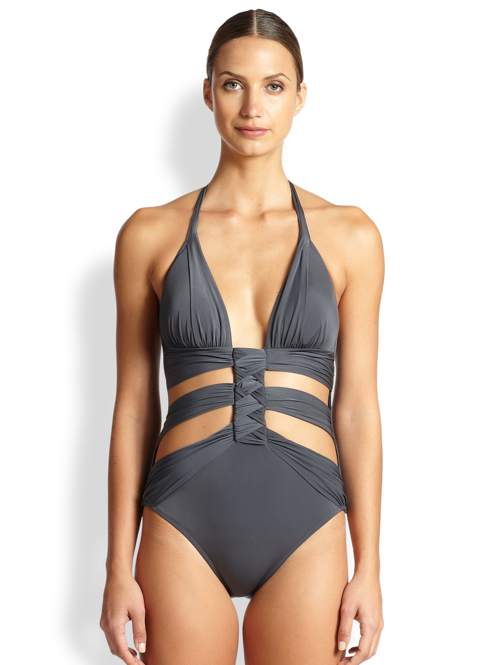 Gottex One-piece Cutout Swimsuit in Gray