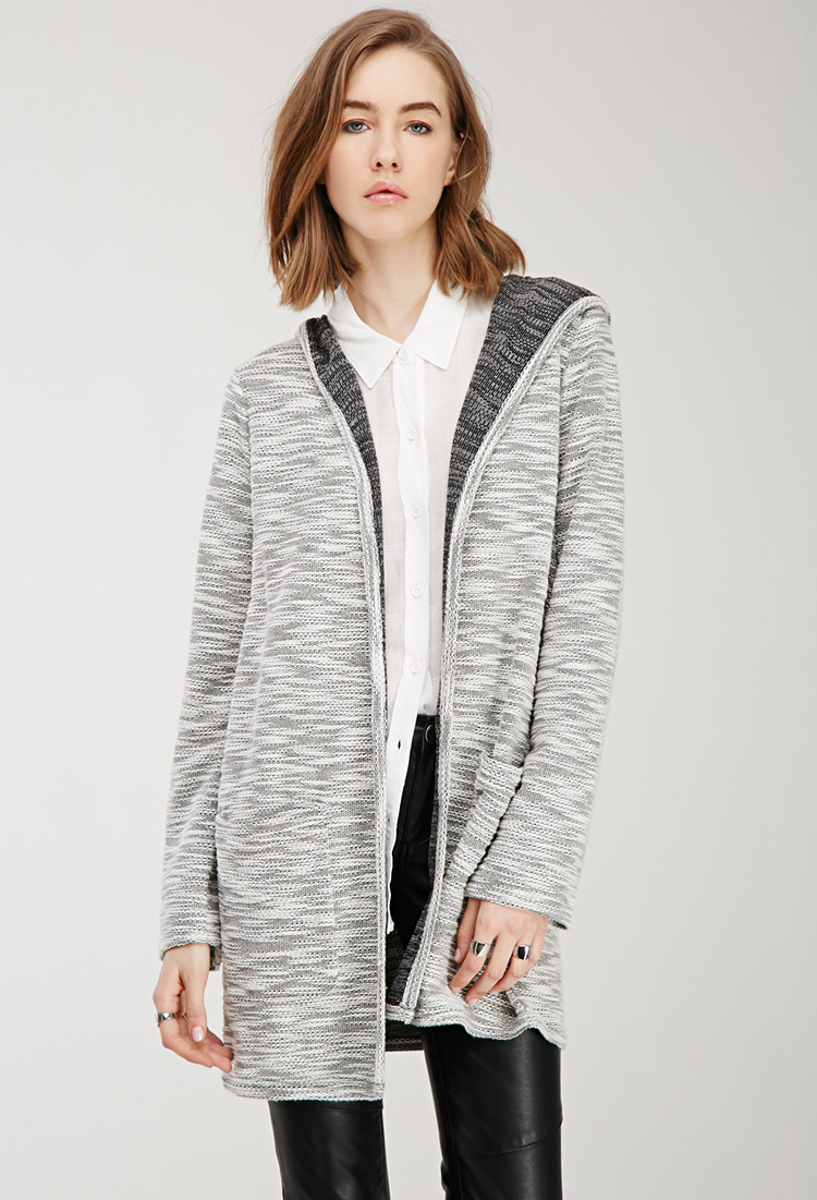 Forever 21 Marled Longline Hooded Cardigan in Natural | Lyst