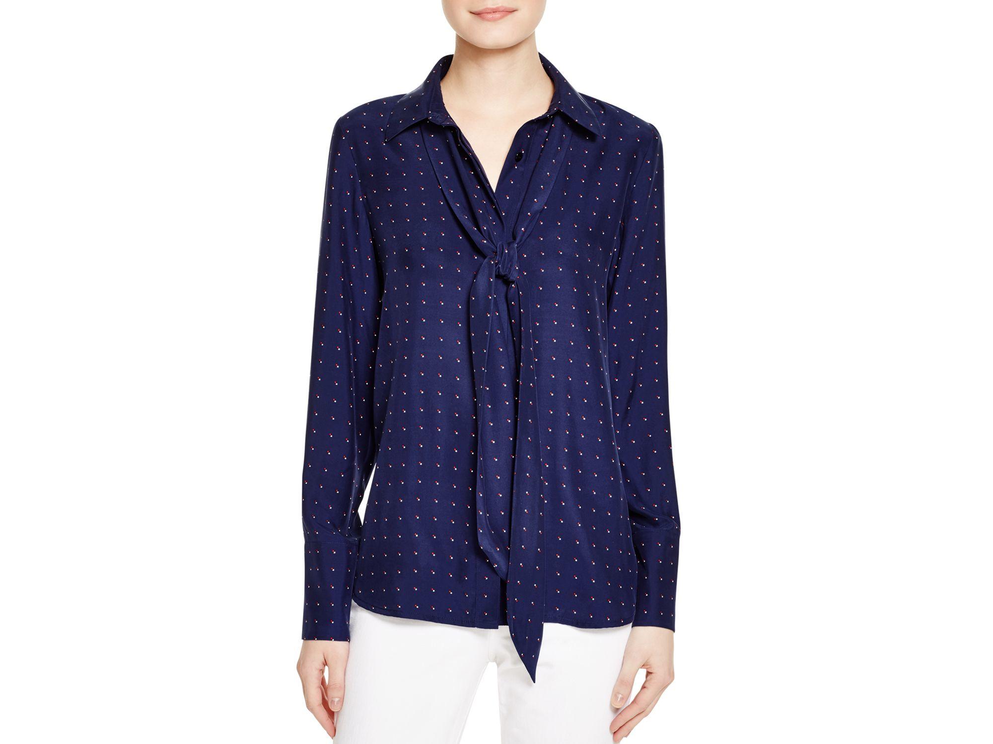 e079a5ed185ac Lyst - FRAME Le Scarf Silk Blouse in Blue