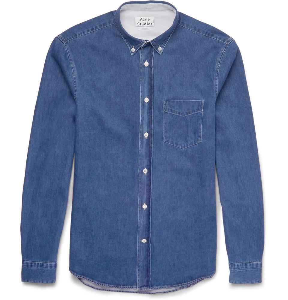 Acne Studios Isherwood Button-down Collar Lightweight-denim Shirt in Blue for Men