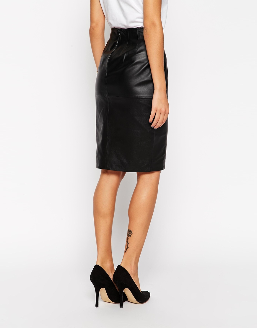Asos Pencil Skirt In Leather With Side Split in Black | Lyst