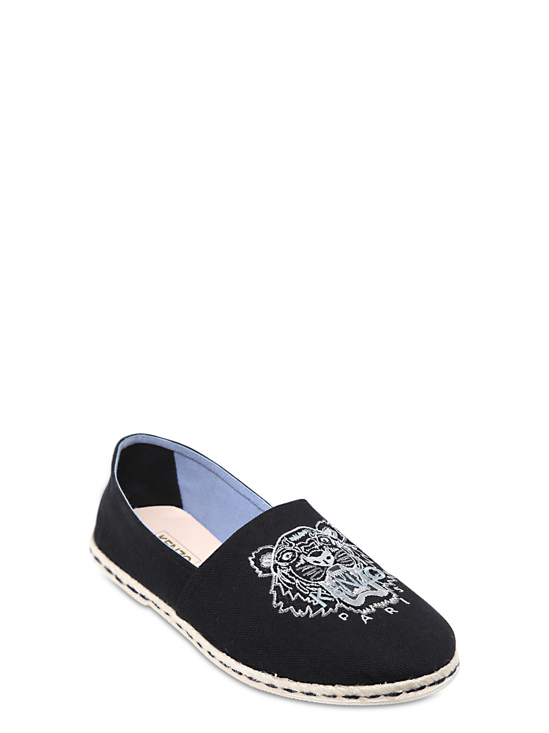 226aaf91d9 KENZO Black Embroidered Cotton Canvas Slip On Shoes for men
