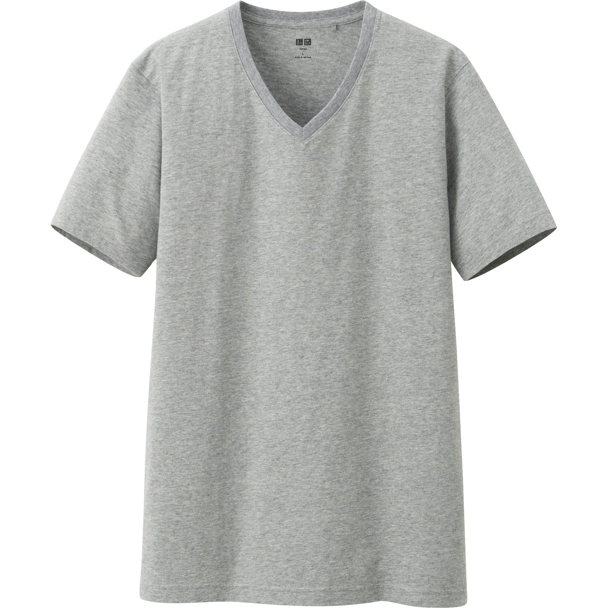 Uniqlo men supima cotton v neck short sleeve t shirt in for Supima cotton dress shirts