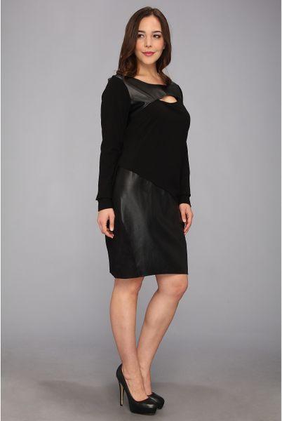 Dkny Plus Size Ls Dress W Faux Leather Panel In Black Lyst