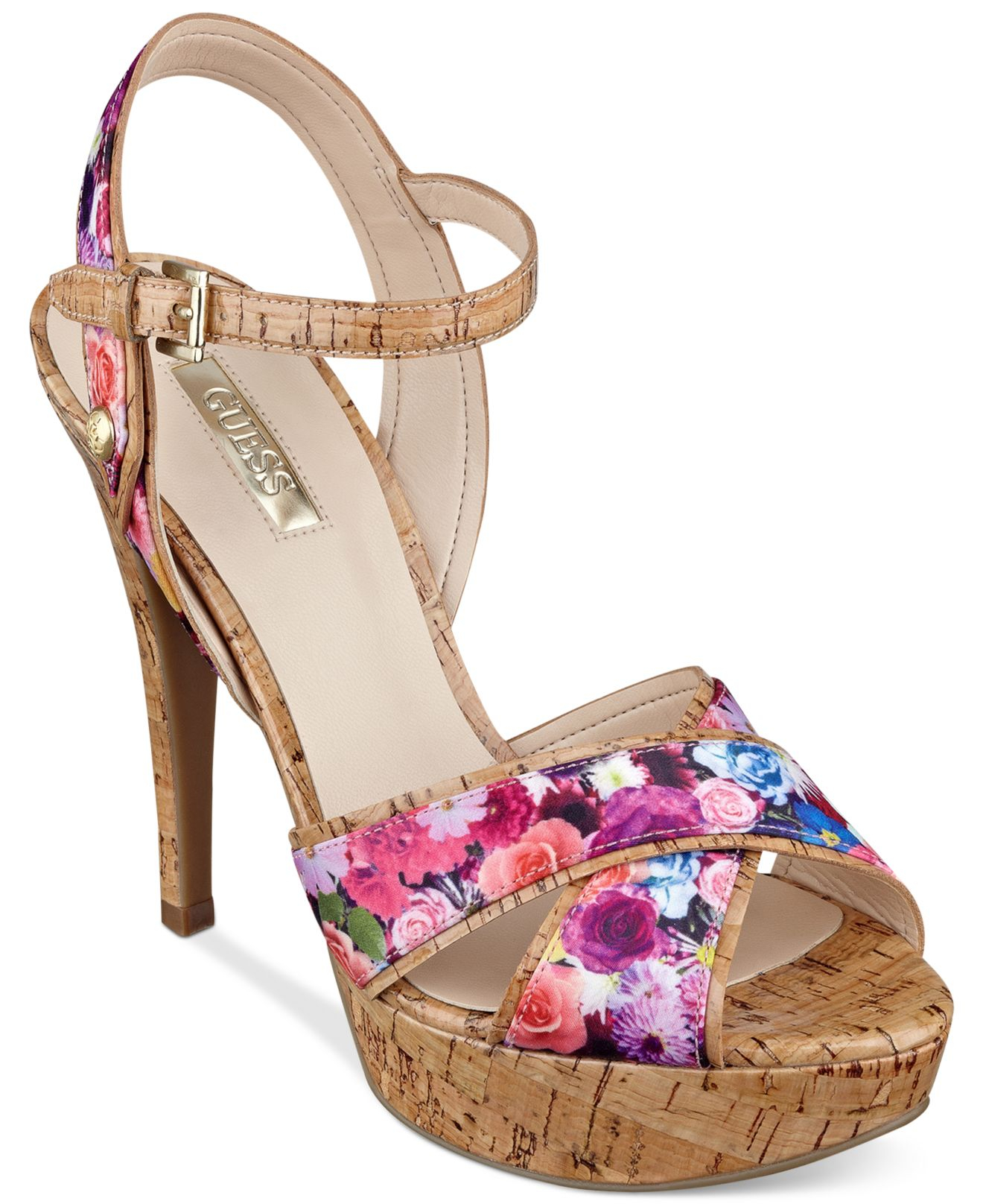 Luxury GUESS Women39s Odin Ankle Strap Platform Wedge Sandals  GUESS  Shoes