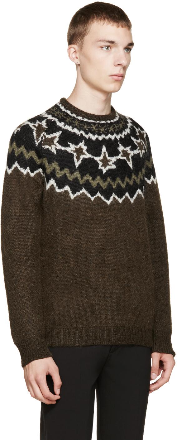 Neil barrett Brown Fair Isle Knit Sweater in Brown for Men | Lyst