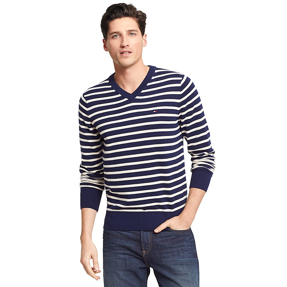 tommy hilfiger classic stripe v neck sweater in blue for. Black Bedroom Furniture Sets. Home Design Ideas