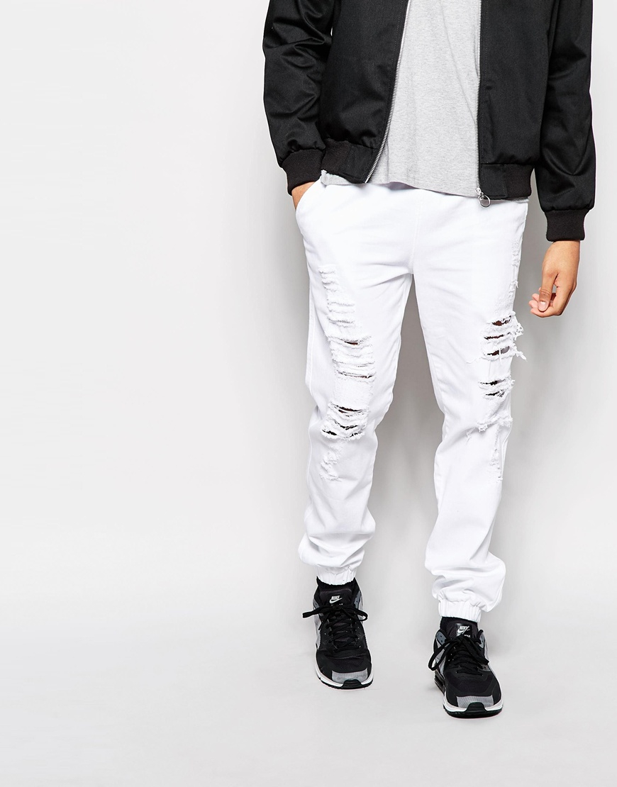 Asos Slim Joggers In Denim With Extreme Rips in White for Men | Lyst