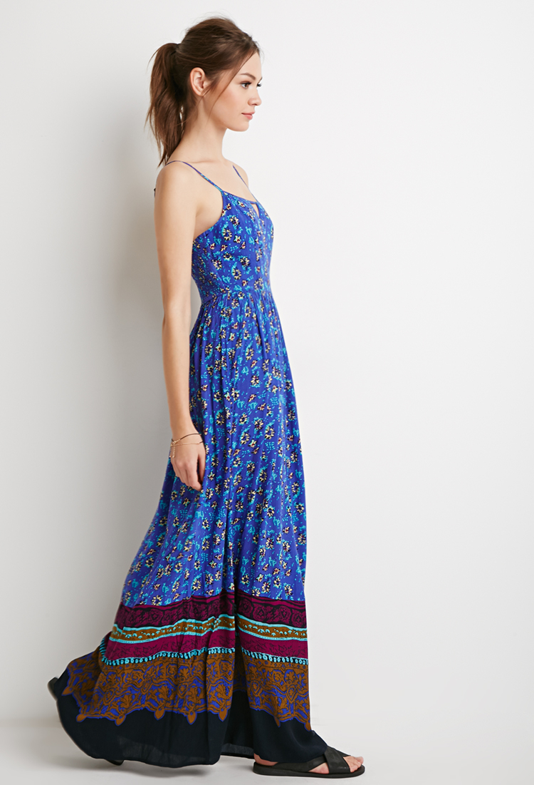 Lyst Forever 21 Abstract Floral Maxi Dress In Blue