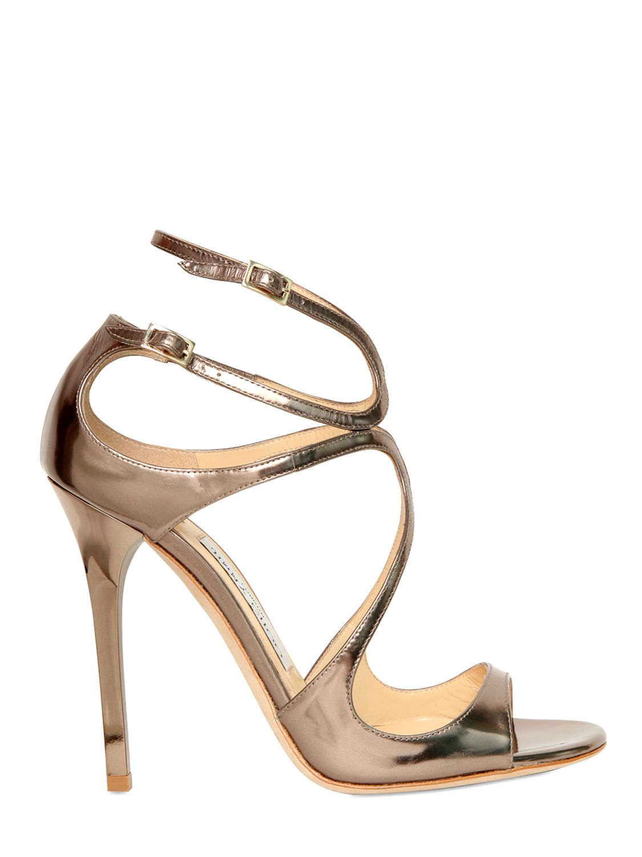 a8a4a3d26dc Lyst - Jimmy Choo 100mm Lang Metallic Calfskin Sandals in Metallic