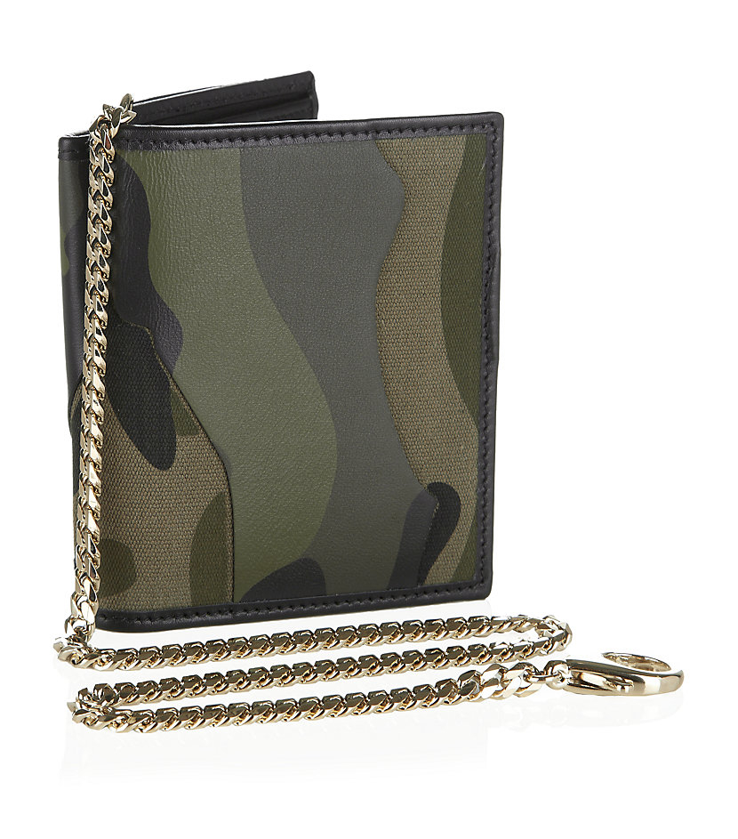 Valentino camouflage billfold wallet with chain in green