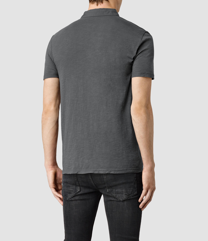 Lyst Allsaints Henning Polo Shirt In Gray For Men