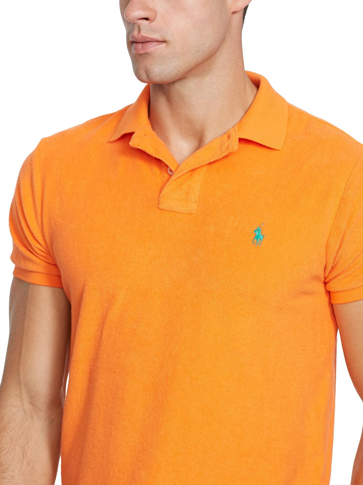Lauren Fit Ralph Shirt Polo Orange Cloth Custom Men For Terry yYgIf6vb7