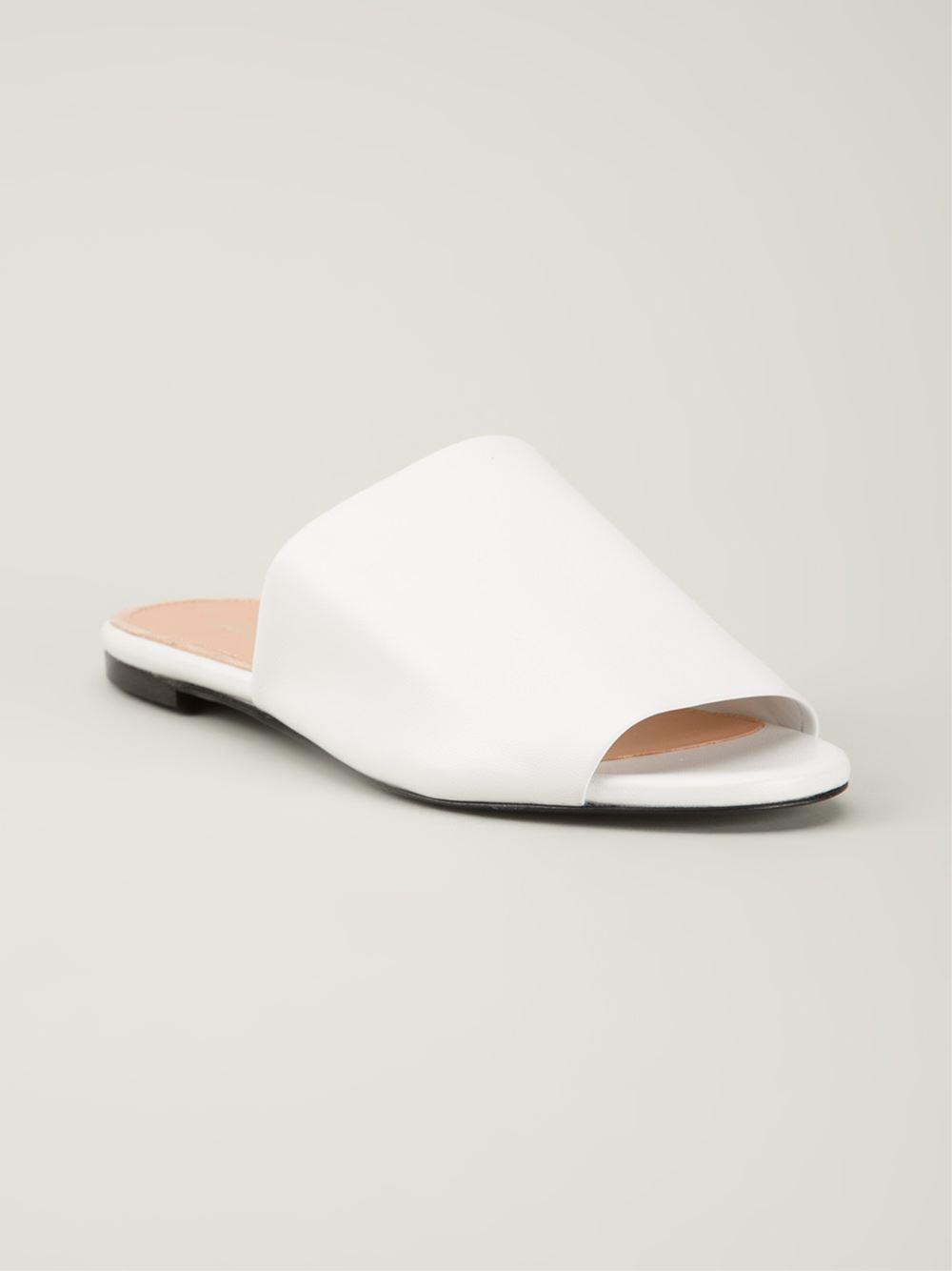 Robert Clergerie Flat Slide Sandals In White Lyst