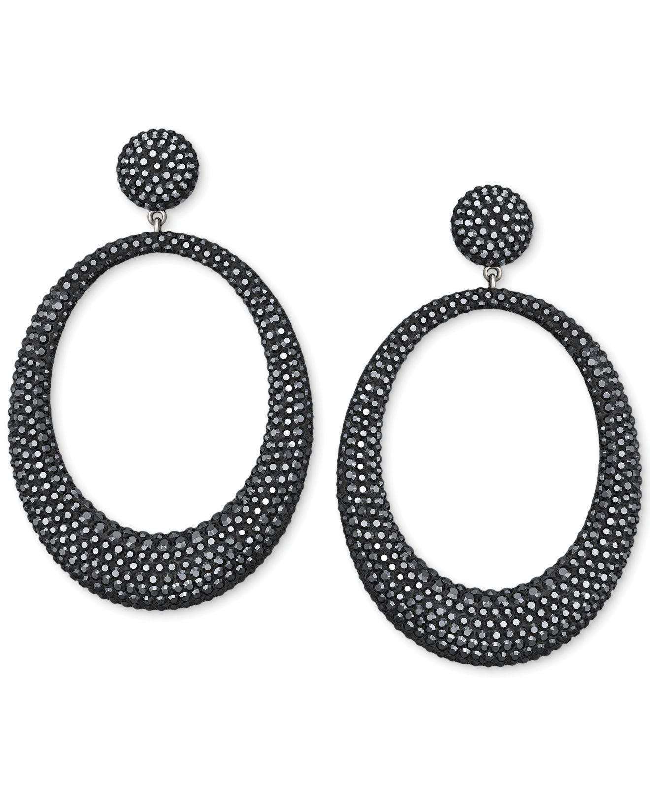 Swarovski Hematite Tone Crystal Large Hoop Drop Earring In Black