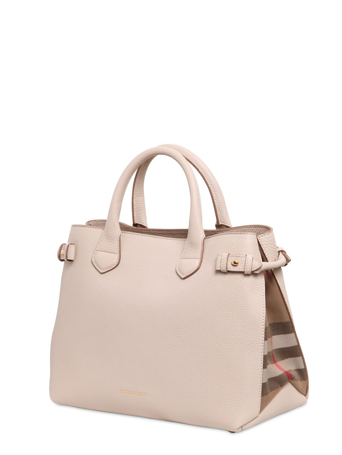 e21ad003558b Burberry Banner Medium Leather Shoulder Bag   Burberry medium banner  leather bag with check in natural