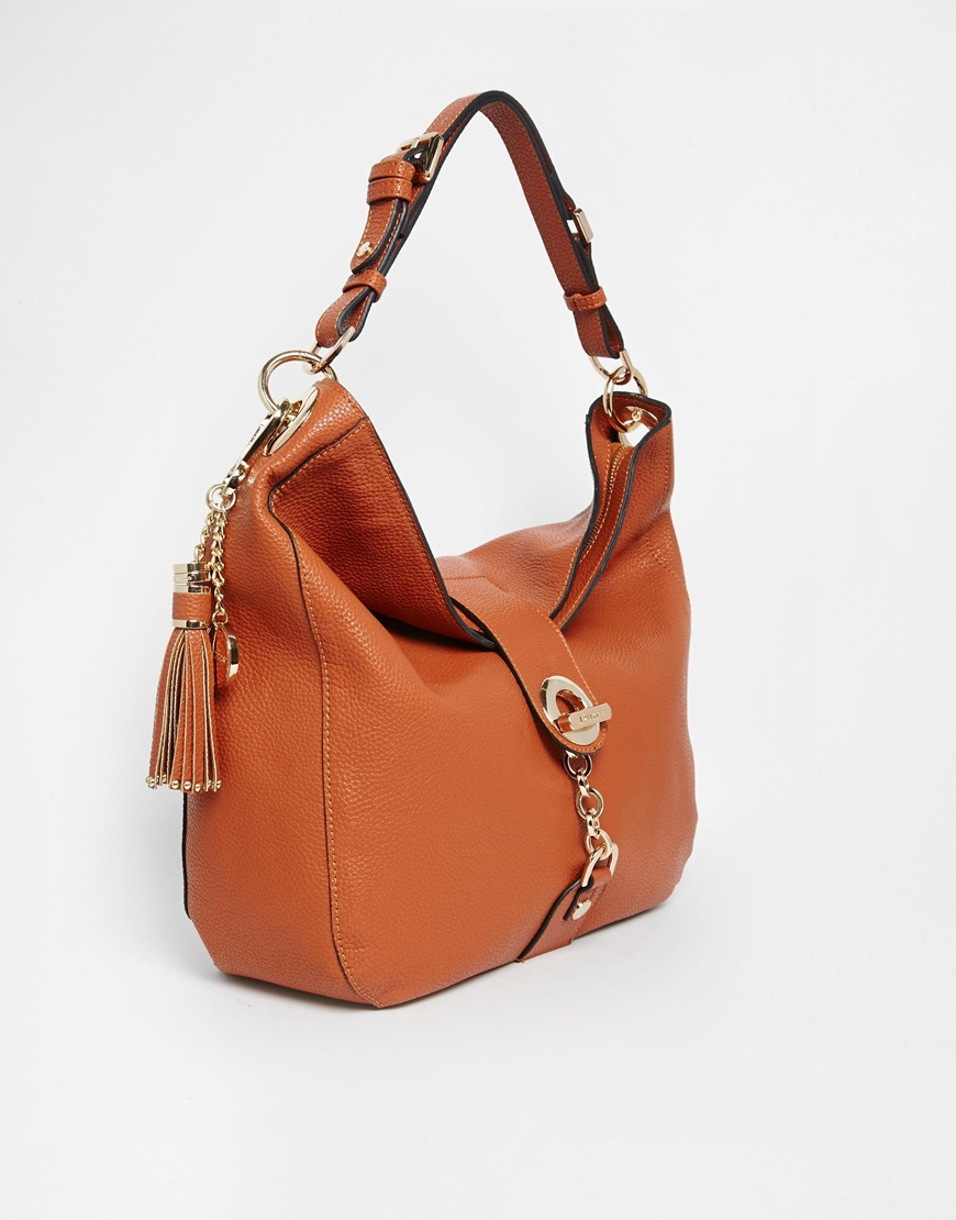 914116ac50 Lyst - Dune Dobbly Slouch Hobo With Chain And Tassel Detail in Brown