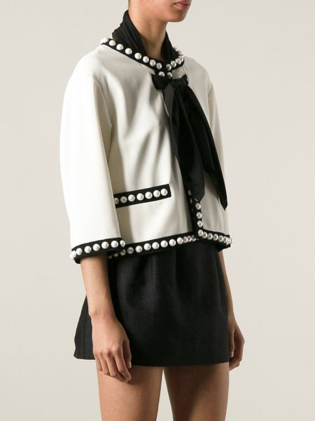 Moschino Pearl Embellished Jacket in White | Lyst