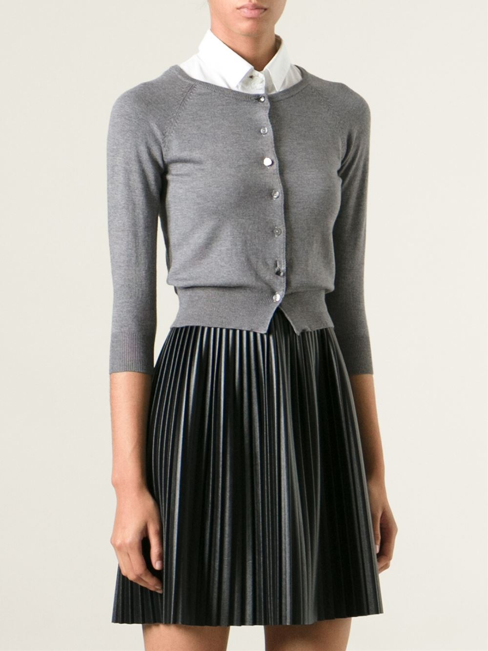 Pinko Cropped Cardigan In Grey Gray Lyst