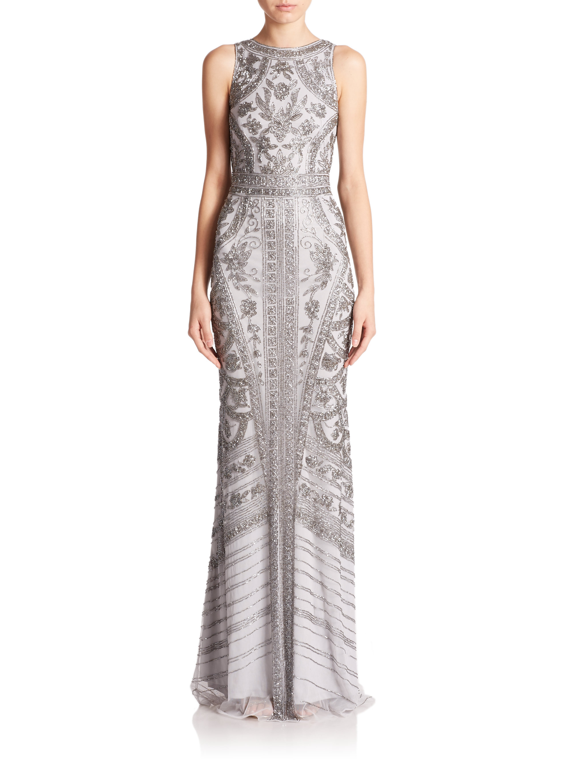 Lyst Theia Floral Beaded Column Gown In Metallic