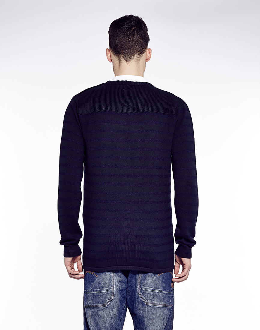 g star raw g star meowno jumper with stripe in blue for men lyst. Black Bedroom Furniture Sets. Home Design Ideas