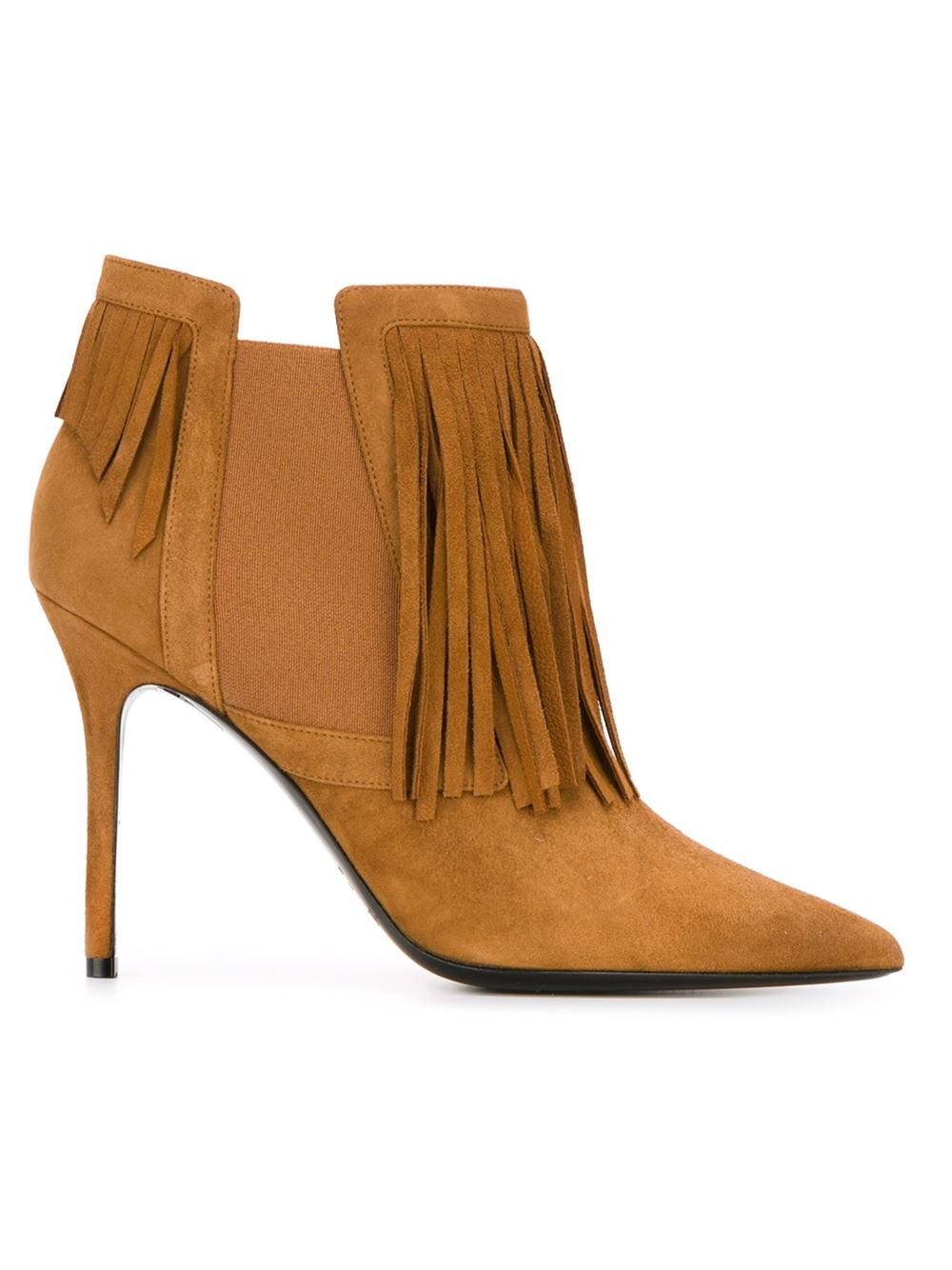 aperlai fringe ankle boots in brown lyst