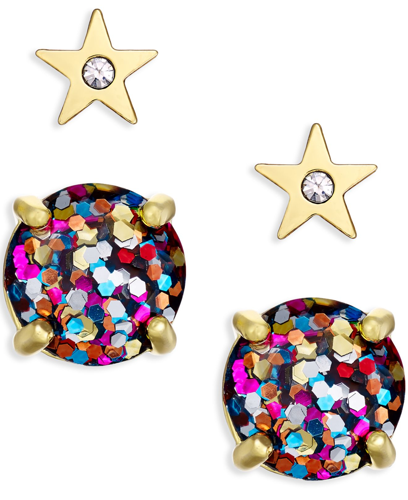 360ccc3d5 Kate Spade Gold-tone Crystal Star And Glitter Stud Earring Set - Lyst