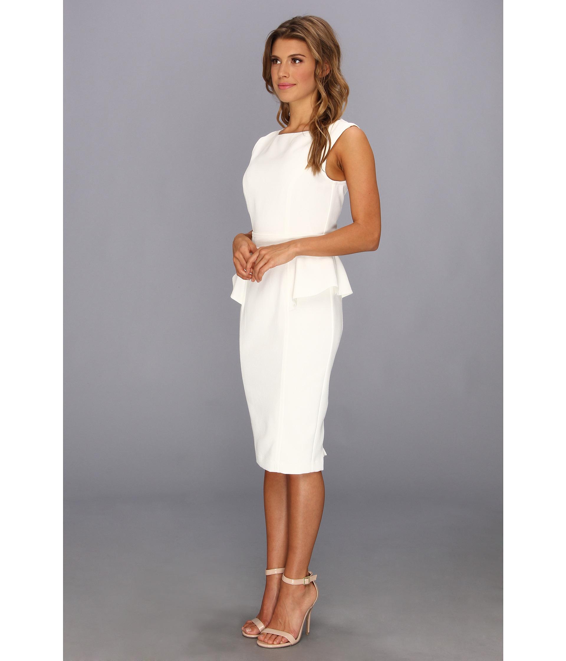 Lyst Badgley Mischka Pebble Crepe Peplum Cocktail Dress In White