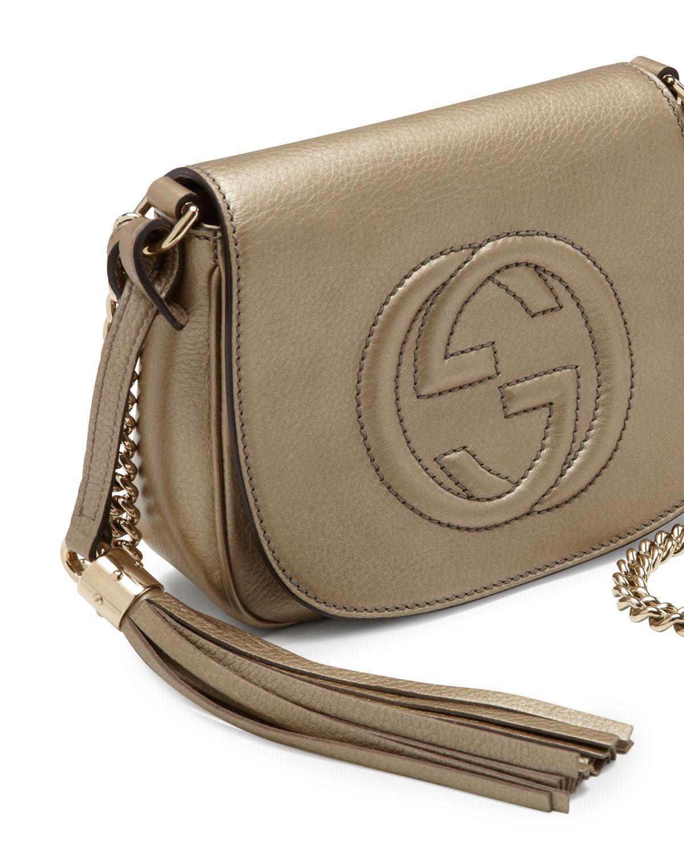 Lyst - Gucci Soho Metallic Leather Chain Crossbody Bag in Natural 071270ba0c2ff
