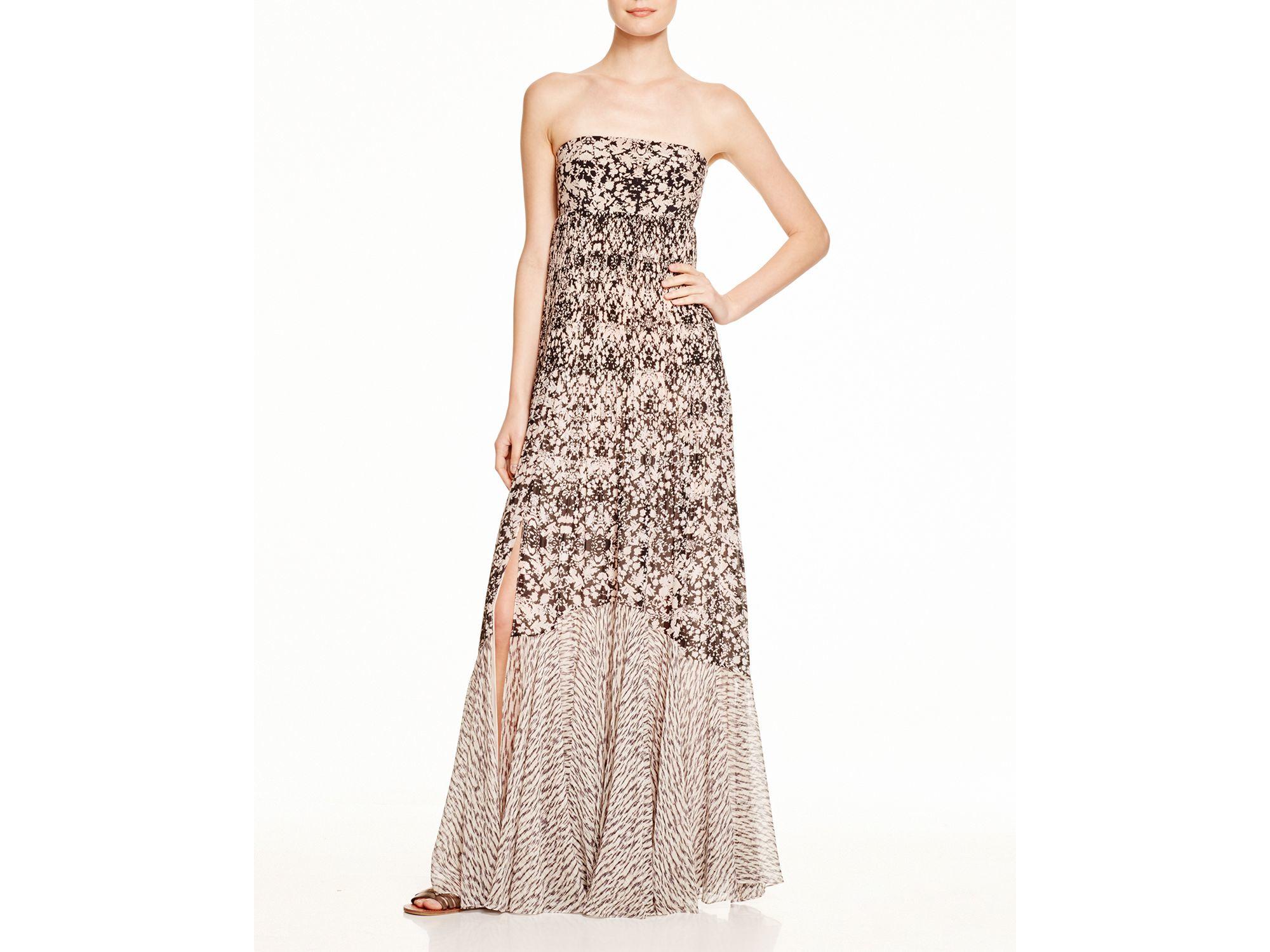 Lyst - Rebecca Taylor Printed Strapless Maxi Dress